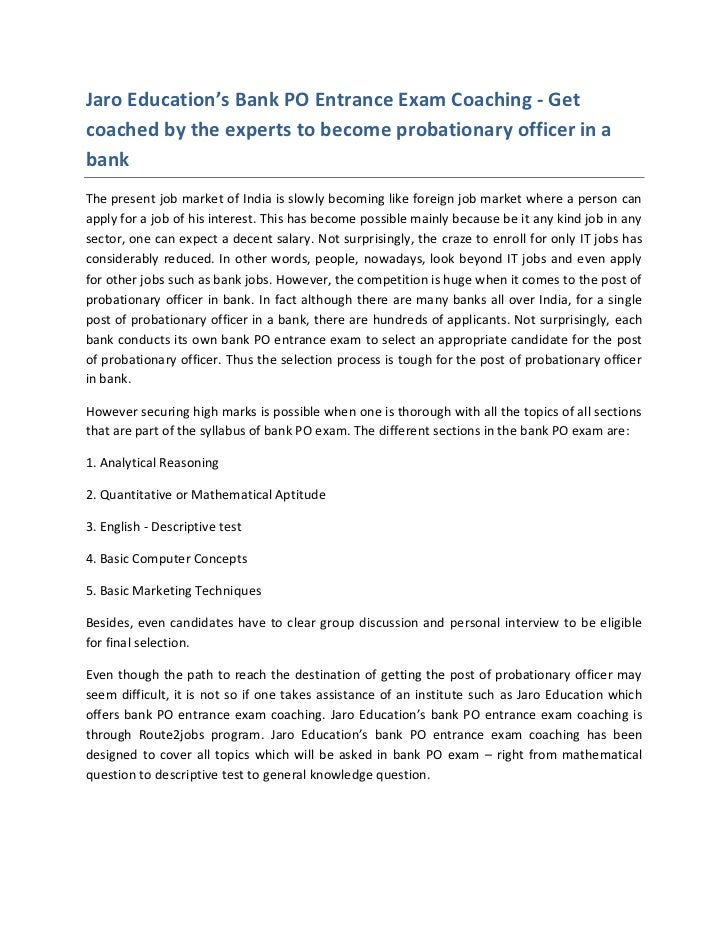Jaro Education's Bank PO Entrance Exam Coaching - Getcoached by the experts to become probationary officer in abankThe pre...