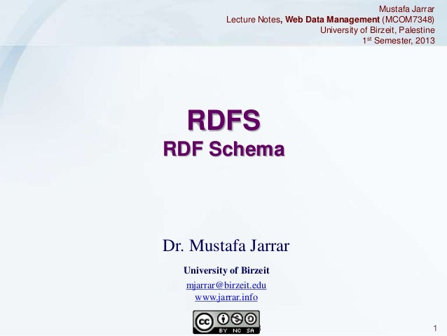 Mustafa Jarrar Lecture Notes, Web Data Management (MCOM7348) University of Birzeit, Palestine 1st Semester, 2013  RDFS RDF...