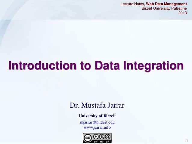 Jarrar: Introduction to data Integration