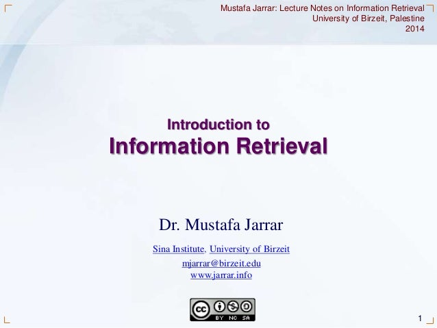 1Jarrar © 2014 Dr. Mustafa Jarrar Sina Institute, University of Birzeit mjarrar@birzeit.edu www.jarrar.info Mustafa Jarrar...