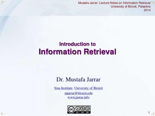 Jarrar: Introduction to Information Retrieval