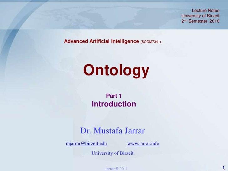 Jarrar.lecture notes.aai.2011s.ontology part1_introduction