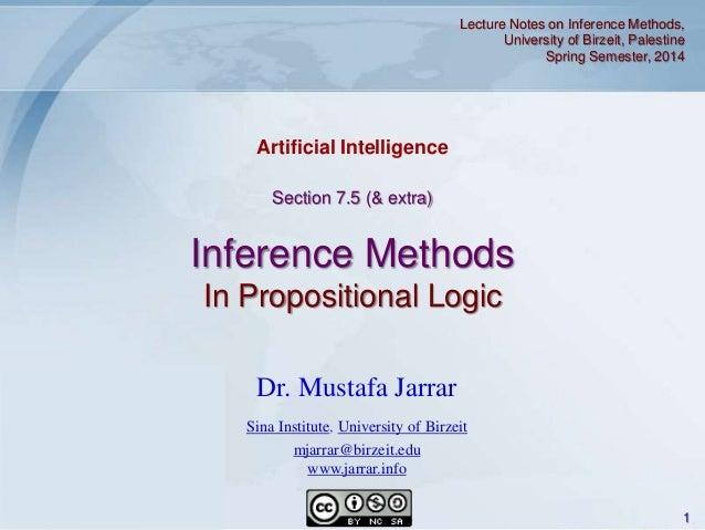 Jarrar: Propositional Logic Inference Methods