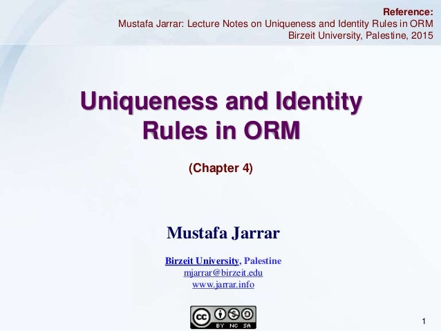 1Jarrar © 2015 Uniqueness and Identity Rules in ORM (Chapter 4) Reference: Mustafa Jarrar: Lecture Notes on Uniqueness and...