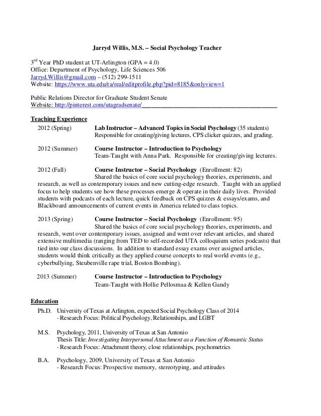 Psychology major resume sample