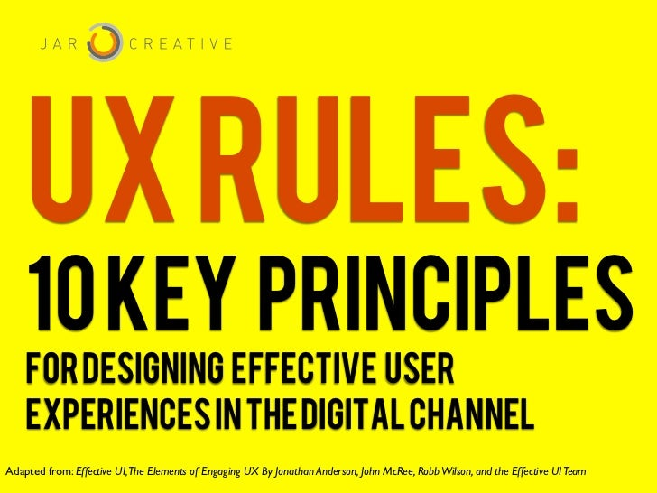 UX RULES:    10 KEY PRINCIPLES    FOR DESIGNING EFFECTIVE USER    EXPERIENCES IN THE DIGITAL CHANNELAdapted from: Effectiv...