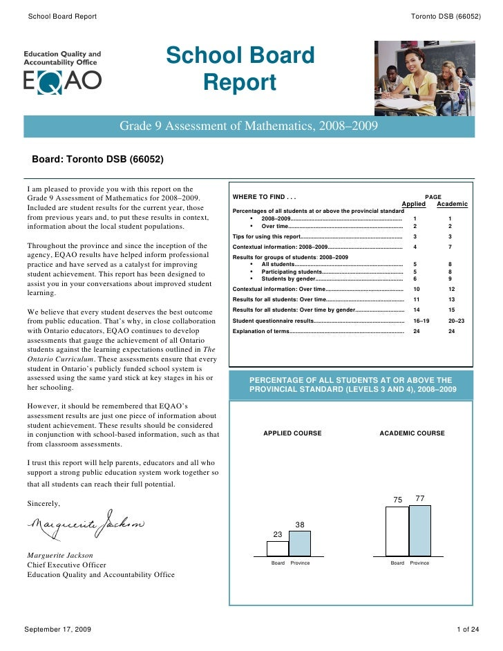 Jarvis Collegiate Institute Gr 9 - 12 - EQAO Board Report