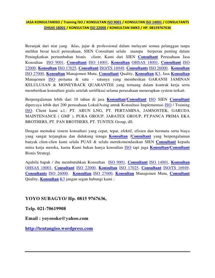 JASA KONSULTAN ISO 9001 / CONSULTANT ISO1 14001 / HSE / SERTIFIKASI ISO / HP. 08159767636