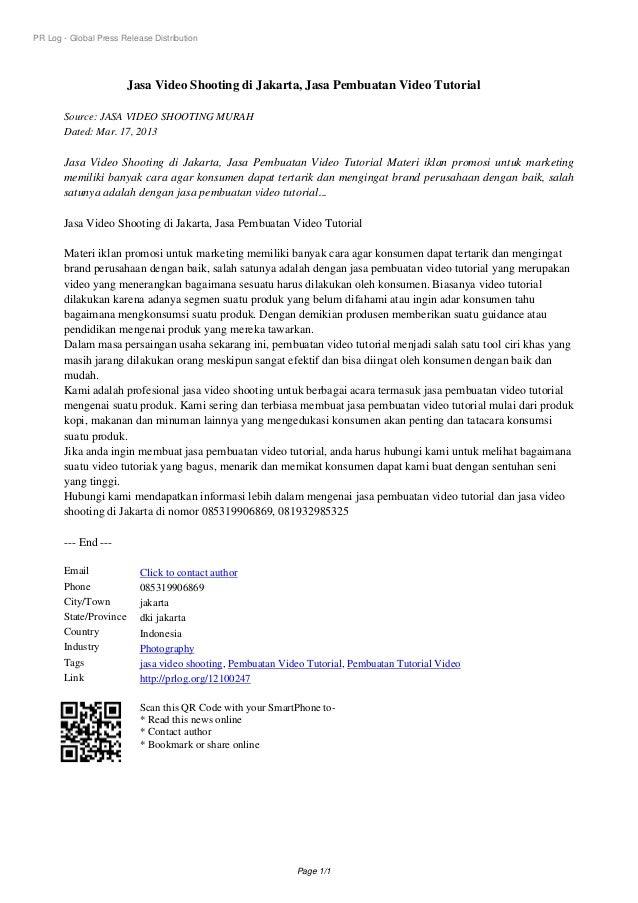 PR Log - Global Press Release Distribution                        Jasa Video Shooting di Jakarta, Jasa Pembuatan Video Tut...