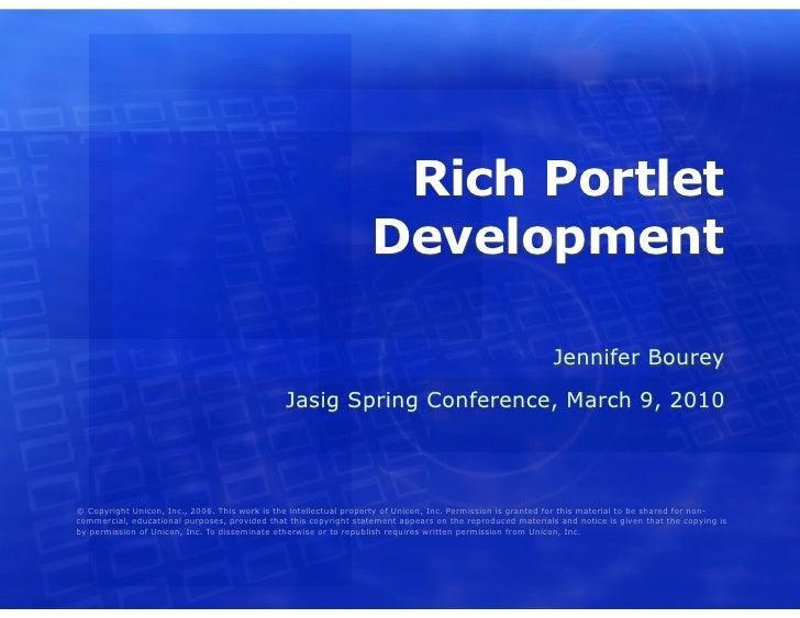 Rich Portlet Development in uPortal
