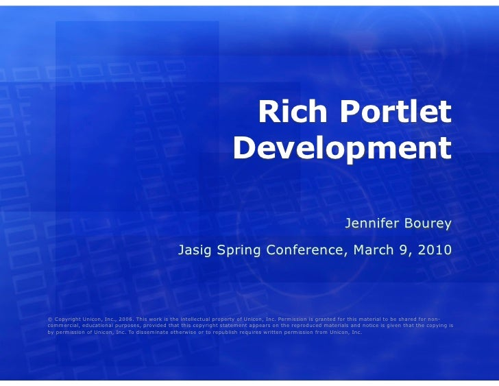 Rich Portlet Development in uPortal