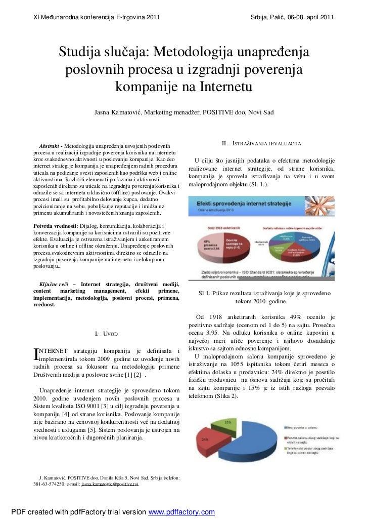 Jasna kamatovic positive doo metodologija unapredjenja poslovnih procesa u izgradnji poverenja kompanije na internetu