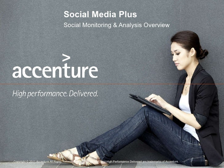 Social Media Plus Social Monitoring & Analysis Overview Copyright © 2011 Accenture All Rights Reserved. Accenture, its log...