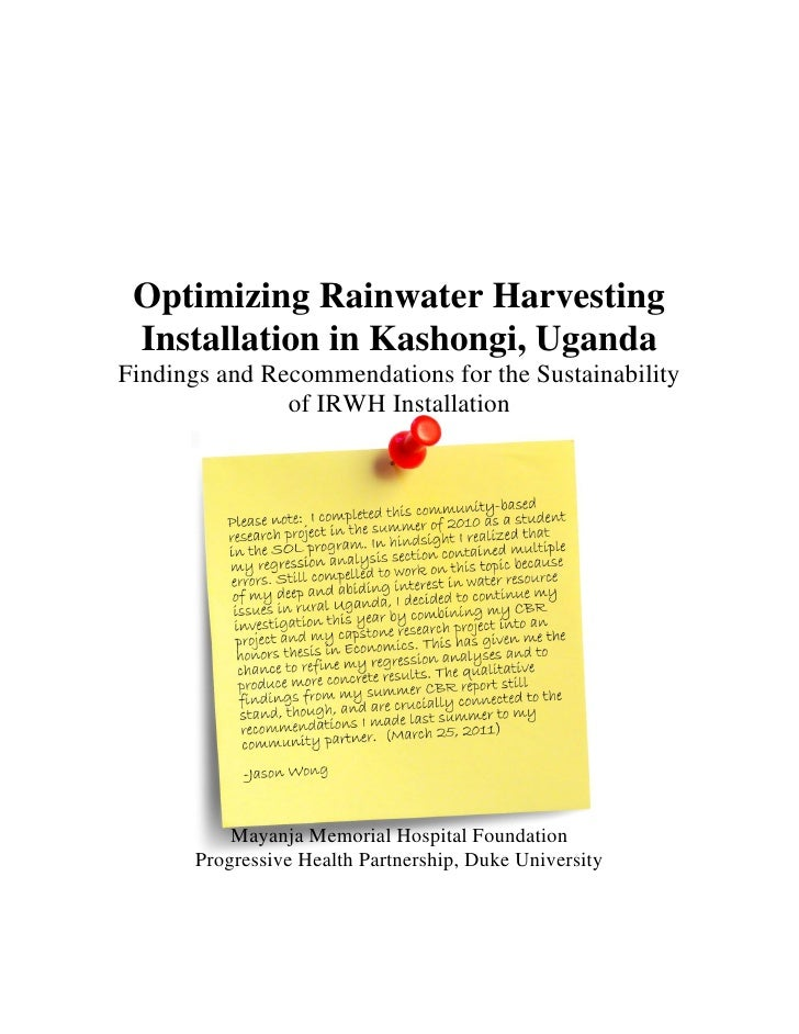 Uganda;  Optimizing Rainwater Harvesting Installation in Kashongi