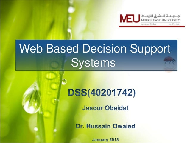 Web Based Decision Support        Systems