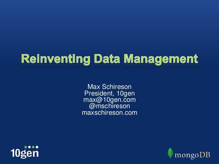 JasperWorld 2012: Reinventing Data Management by Max Schireson