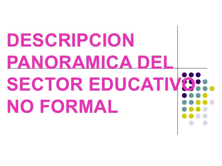 DESCRIPCION PANORAMICA DEL SECTOR EDUCATIVO NO FORMAL