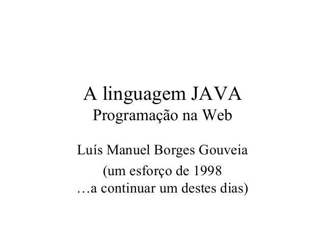 Introdução ao JAVA (linguagem de programação WEB)