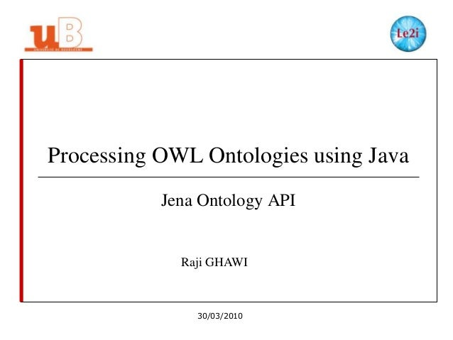 Processing OWL Ontologies using Java Jena Ontology API  Raji GHAWI  30/03/2010
