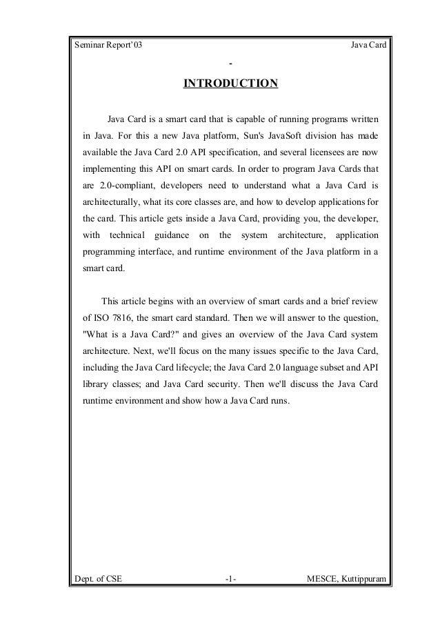 Seminar Report'03                                                         Java Card                            INTRODUCTIO...