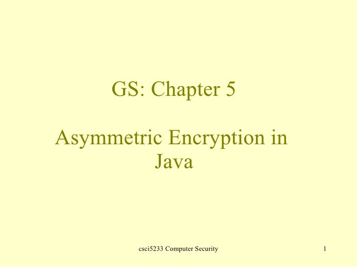 GS: Chapter 5 Asymmetric Encryption in  Java