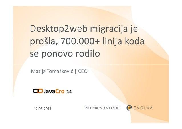 Desktop2web migracija je prošla, 700.000+ linija koda se ponovo rodilo Matija Tomašković | CEO POSLOVNE WEB APLIKACIJE12.0...