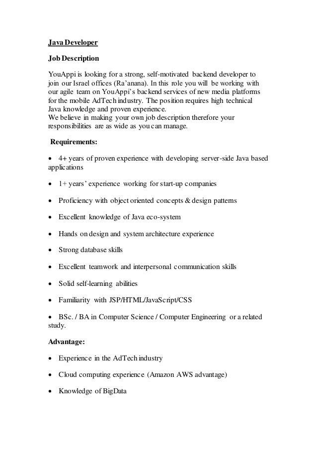 it cv template cv library technology job description java cv ...