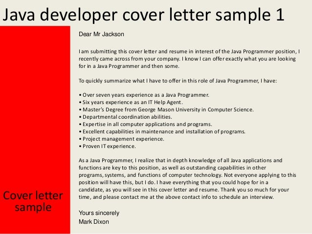 database developer cover letter
