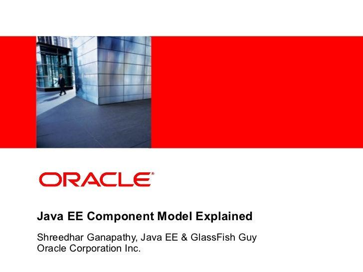 <Insert Picture Here>Java EE Component Model ExplainedShreedhar Ganapathy, Java EE & GlassFish GuyOracle Corporation Inc.