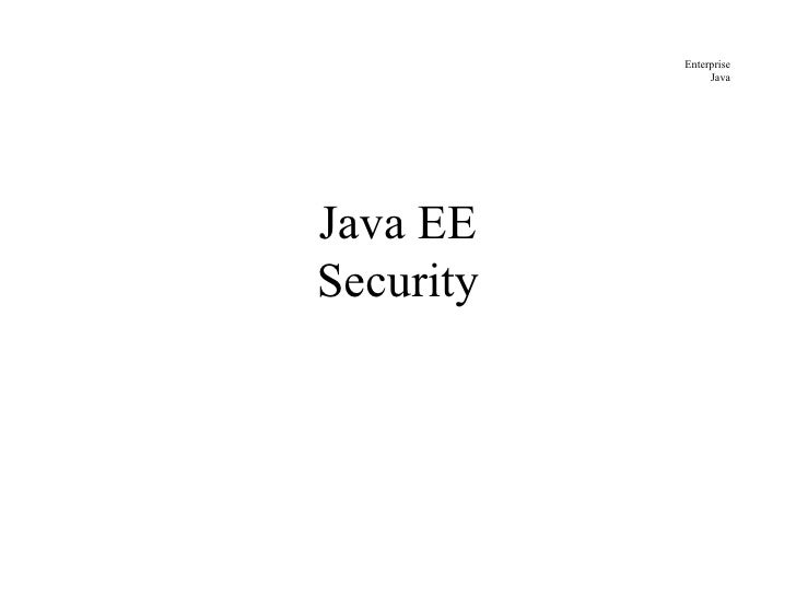 JavaEE Security