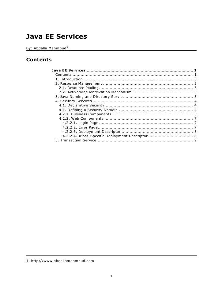 Java EE Services                       1 By: Abdalla Mahmoud .   Contents             Java EE Services ......................