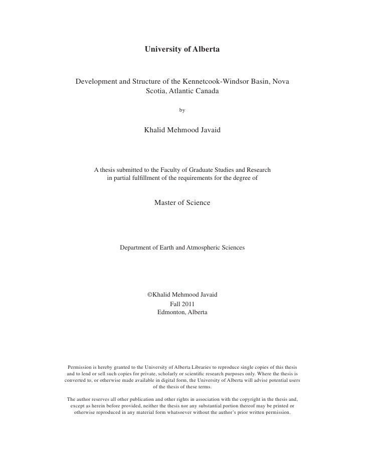 University of Alberta     Development and Structure of the Kennetcook-Windsor Basin, Nova                         Scotia, ...