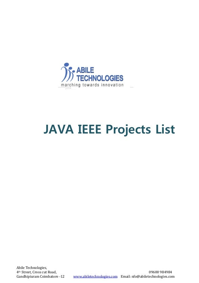 Java ieee projects archieves for CSE and IT students In coimbatore