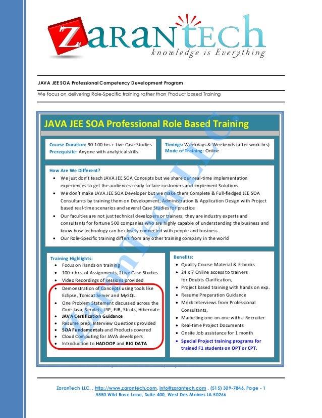 JAVA JEE SOA Training from ZaranTech