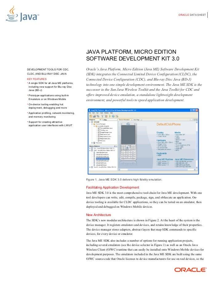 ORACLE DATA SHEET                                               JAVA PLATFORM, MICRO EDITION                              ...