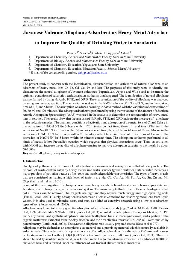 Javanese volcanic allophane adsorbent as heavy metal adsorber to improve the quality of drinking water in surakarta