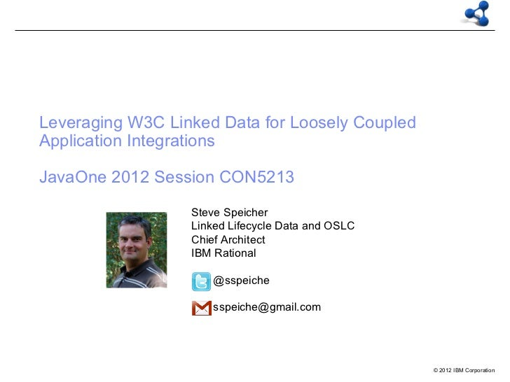 Leveraging W3C Linked Data for Loosely CoupledApplication IntegrationsJavaOne 2012 Session CON5213                  Steve ...