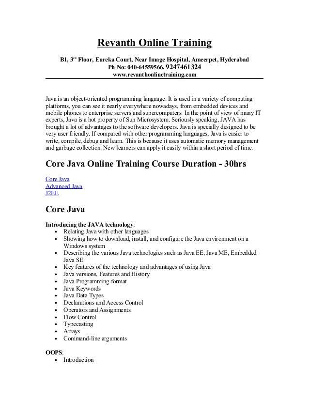 Java online training from hyderabad