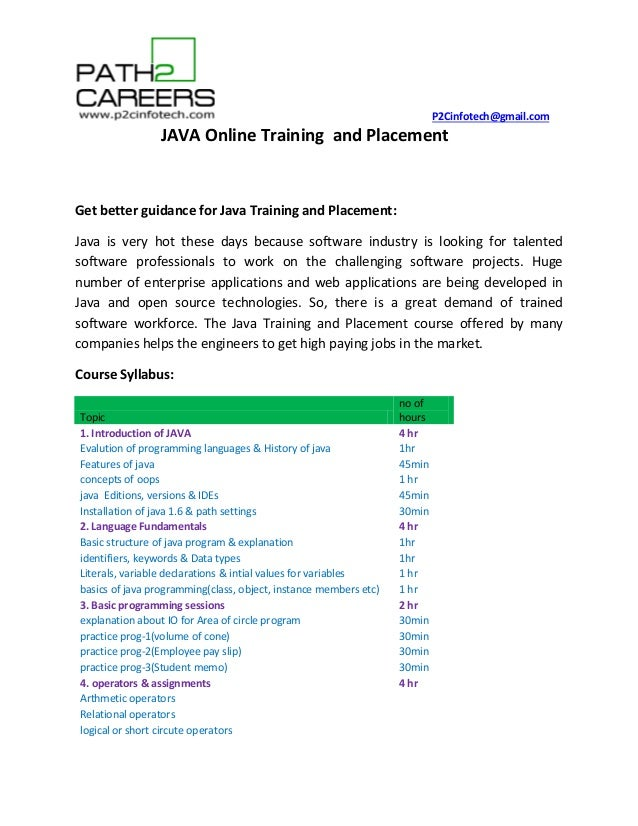 Java Training and placement Online