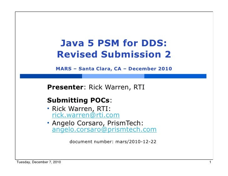 Java 5 Language PSM for DDS: Final Submission