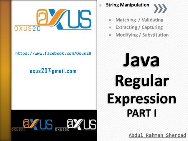 » String Manipulation » Matching / Validating » Extracting / Capturing » Modifying / Substitution  https://www.facebook.co...