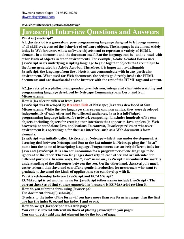 Shwetank Kumar Gupta +91-9815144280shwetankkg@gmail.comJavaScript Interview Question and AnswerJavascript Interview Questi...