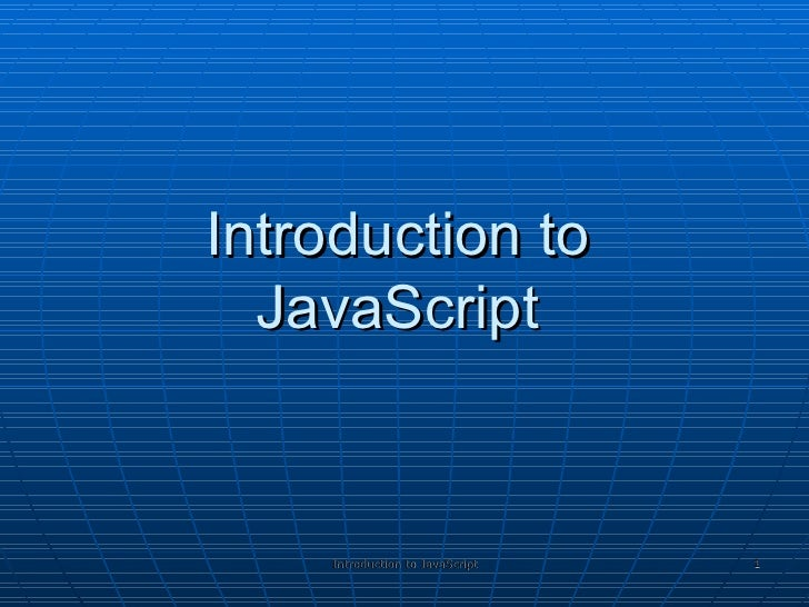 Javascript Intro 01