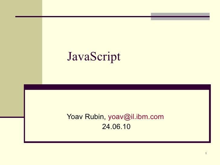 JavaScript - Programming Languages course