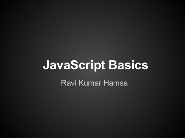 Java Script Basics