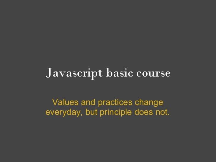 Javascript basic course