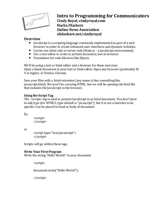 Intro to Programming for Communicators                                         Cindy Royal, cindyroyal.com ...