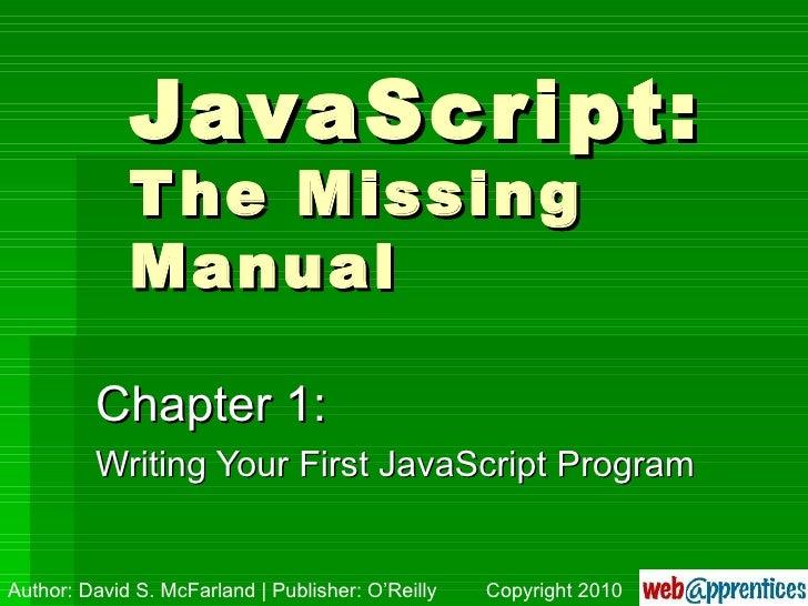JavaScript Missing Manual, Ch. 1