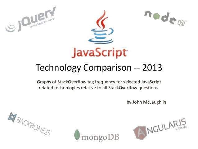 Technology Comparison -- 2013 Graphs of StackOverflow tag frequency for selected JavaScript related technologies relative ...