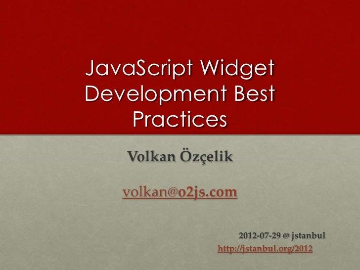 External JavaScript Widget Development Best Practices (updated) (v.1.1)